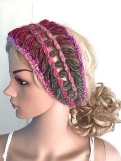 BUY1GET1HALFPRICE,Designer unique headband,womens,teens,handmade dread tube wrap, hippy,hippie,ooak,boho festival,ear warmer,flower hair  by CarraigDesigns on Etsy