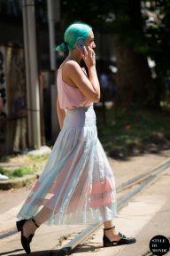 Elizabeth Fraser-Bell, Fashion editor at Dazed & Confused, after Dolce & Gabbana fashion show. STYLE DU MONDE on Instagram @styledumonde, Pinterest, Twitter, Tumblr and Facebook