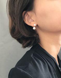 Front Back Pearl Earrings / Silver Open Hoop Pearl Earrings/Ear Jacket Earrings/ Bridal Earrings/ Wedding Earrings by arassijewelry on Etsy Nickel Free Earrings, Pearl Stud Earrings, Pearl Studs, Star Earrings, Silver Earrings, Jacket Earrings, Ear Jacket, Wedding Earrings, Hoop