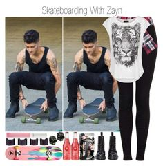 """""""Skateboarding With Zayn"""" by ana-styles-mahone ❤ liked on Polyvore featuring Maybelline, Ernesto Esposito, Topshop, MANGO, Minor Obsessions, Maison Margiela, Payne, Dr. Martens, OneDirection and zaynmalik"""