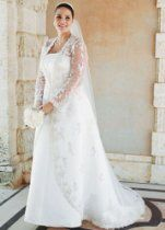 David's Bridal Wedding Dress: Strapless Satin A-line with Beaded Lace Jacket Style 9V8835