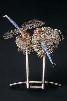 L.C. Tiffany Dragonfly hair ornament, platinum cir 1904