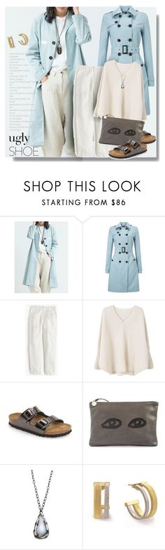 """""""400"""" by believelikebreathing ❤ liked on Polyvore featuring Phase Eight, J.Crew, MANGO, Birkenstock, Clare V., Marco Bicego and uglyshoes"""