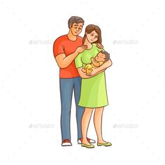 Cartoon Adult Couple and Infant