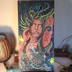 """Urchin"" 12x24 inch Acrylic on wood  Light reactive  #visionaryart #figureart #fractals #sacredgeometry"