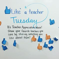 Happy Teacher Appreciation Week! We celebrated by giving our favorite teachers a 'like'. The messages were incredibly sweet! #teacherlife #teachersfollowteachers #teachersofinstagram #iteachfourth #miss5thswhiteboard #teacherappreciationweek #teachersday