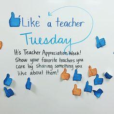 Happy Teacher Appreciation Week! We celebrated by giving our favorite teachers a 'like'. The messages were incredibly sweet! #teacherlife #teachersfollowteachers #teachersofinstagram #iteachfourth #miss5thswhiteboard #teacherappreciationweek #teachersday