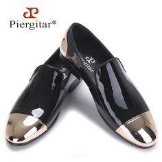 Piergitar 2017 new Black and White Patent Leather men Handmade shoes Party  and Wedding men dress 4136f5504d30