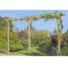 Lovely Pergola aus Holz Torbogen Rankhilfe L nge ca cm mit Pfosten xcm von Gartenpirat