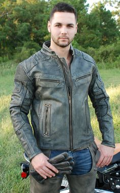 Ultimate vintage gray motorcycle jacket for men with zippered vents, stretch panels, dual CCW pockets, full sleeve zip out lining and so much more. This leather moto riding jacket has a hand-rubbed finish for a unique well warn look. Mens Leather Coats, Grey Leather Jacket, Leather Skin, Leather Jackets, Trench Coat Men, Riding Jacket, Briefcase For Men, Men Bracelets, Leather Bracelets