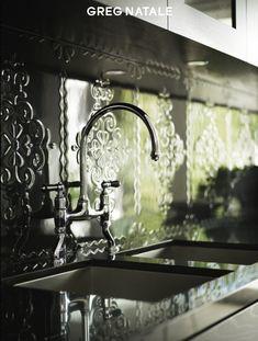 Tile backsplash that looks like pressed metal | Greg Natale... via Hinch Color Design...