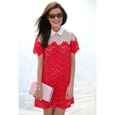 Sarah Vickers in red lace Anthropologie dress