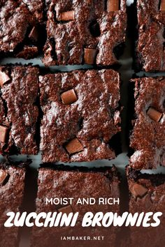 This Moist and Rich Zucchini Brownies is an amazing dessert recipe to impress friends and family! It's the best brownies recipe that's loaded with zucchini and is a chocolate lovers dream! Save this quick and easy sweet treat! Blondie Brownies, Best Brownies, Best Brownie Recipe, Brownie Recipes, Best Dessert Recipes, Fun Desserts, Quick And Easy Sweet Treats, Zucchini Brownies, Chocolate Lovers