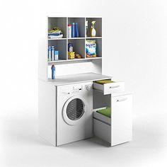Entzuckend VICCO Waschmaschinenschrank Kombination Weiß 185 X 103 X 60 Cm   Badregal  Hochschrank Waschmaschine Bad Schrank