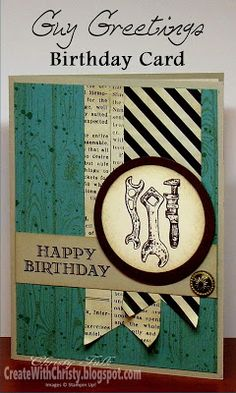 Stampin' Up! Guy Greetings Birthday Card - Create With Christy - Christy Fulk, Stampin' Up! Demo