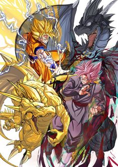 Gods that looks amazing. Super Saiyan Goku and Super Saiyan Rosé Goku Black
