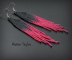 Handmade Native American Style Seed Bead Earrings by Paula *R E A D Y to S H I P * ♥ ABOUT ~ I used quality JAPANESE Glass Seed Beads *matte charcoal,metallic old rose pink,shiny blush pink ~ I used super strong beading thread! ~ light weight (4g each) ~ I handcrafted these earrings