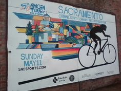 A completed  mural blending Sacramento, and the Amgen Tour of California 2014 by Katie Gaven
