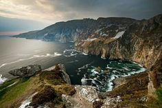 The cliffs of Slieve League in Co. Donegal (highest sea ciffs in Europe; a nearly sheer drop of 2,000 feet separates the Atlantic Ocean from the highest point of the cliffs)