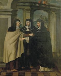 This unusual painting shows St. Teresa of Avila, St. Clare of Assisi and St. Catherine of Sienna. They represent three glorious monastic orders, the Carmelites, the Franciscans and the Dominicans.