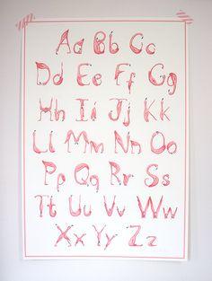 Alphabet, ABC, Flamingo art print, wall art nursery, nursery decor, baby room on Etsy, $24.30