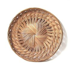 vintage 1970's large round flat basket by RecycleBuyVintage, $35.00