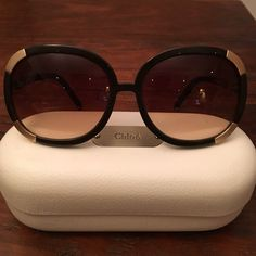 Chloe Myrte Sunglasses Gorgeous, stylish, and timeless sunglasses worn by the likes of Nicole Ritchie and Rachel Zoe. Great condition, slightly-used. Lightweight and stay on face -- no sliding down! Chloe white case and cleaning cloth included. Chocolate brown frames with gold metal plating. Chloe Accessories Sunglasses
