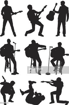 View top-quality illustrations of Men Playing Guitar And Singing. Find premium, high-resolution illustrative art at Getty Images. Silhouette Couple, Silhouette Painting, Acrylic Painting Trees, Music Themed Cakes, Guitar Drawing, Guitar Photography, Pop Rock, Pencil Art Drawings, Gravure