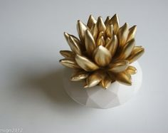 "Succulent Sculpture in White Modern Faceted Geometric Container, Tabletop Garden, Wedding Centerpiece (3""-4"" for $30.00)"