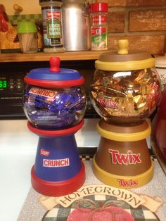 Candy jars by Wreathsandmoredecor on Etsy, $25.00