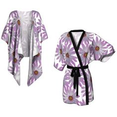 Purple Floral Kimono Cover Up Festival Fashion Summer Boho Plus Size... (€53) ❤ liked on Polyvore featuring swimwear and cover-ups