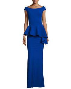 Etheline Cap-Sleeve Peplum Column Gown, Inchiostro   by La Petite Robe di Chiara Boni at Neiman Marcus.