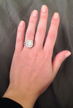 Double Halo Engagement Ring 1.3ct center stone with 1ct surrounding stones - total = 2.3 carats