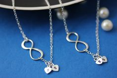 Mother daughter necklace . INFINITY Necklace. Initial Necklace . Infinity Love Between Mom and Daughter jewelry . Love friendship Necklace. $53.80, via Etsy.