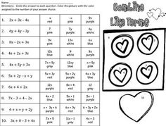 Are you practicing with distributive property & combining like terms this February? These coloring sheets get students practicing their math skills and having a little Valentine's day fun! Ninth Grade, 8th Grade Math, Seventh Grade, Math Skills, Math Lessons, Combining Like Terms, Middle School Literacy, Feedback For Students, Distributive Property