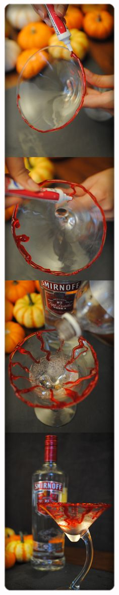 DIY vampire Halloween cocktail with Smirnoff flavored vodka and soda water. Rim with red cake gel for spooky effect.