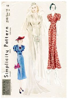 vintage sewing pattern vintage gown sewing pattern wedding bridal evening or afternoon dress bust 36 reproduction/ 1930 Vintage Outfits, Vintage Gowns, Vintage Bridal, Vintage Fashion, Edwardian Fashion, Motif Vintage, Vintage Mode, Wedding Dress Sewing Patterns, Vintage Sewing Patterns