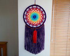 8.5 Crochet Rainbow Mandala Dreamcatcher  by WindalaCrafts on Etsy