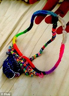 Looming over: Sam Innes made this 'loom-kini' out of colourful loom bands and hopes to sell it on eBay