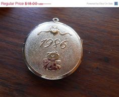 SALE Large Baby Picture Locket 1986 by VintageVarietyFinds on Etsy