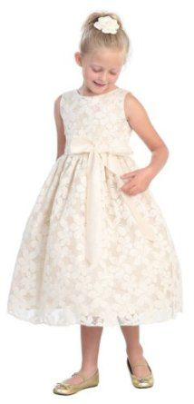 Ivory Flower Embroidered Lace Flower Girl Dress