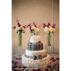 Elegant white and grey wedding cake/The Cake Guru/Oshkosh,WI