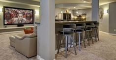 Liked on Pinterest: A finished basement is an awesome home addition. Check out our photos of cool basement designs that will add more usable square footage to any home.