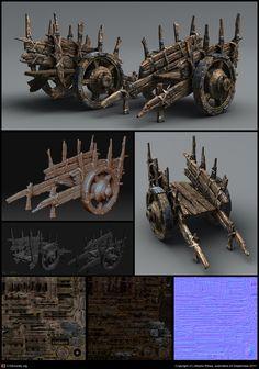 Medieval Cart by AlbertoRibas Medieval, Environment Concept Art, Zbrush Environment, Polygon Modeling, Game Textures, Blender Tutorial, Game Props, Fantasy Castle, Cg Art