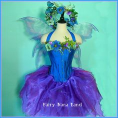 August S-A-L-E-  Fairy Costume - Lavender Blue MEADOW FAERIE - adult size M. $400.00, via Etsy.
