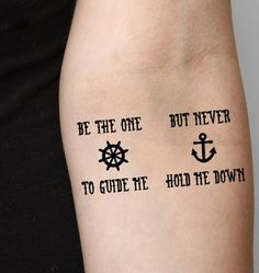 Temporary quote tattoo for girls #quote #tattoo www.loveitsomuch.com Navy Tattoos, Bff Tattoos, Best Friend Tattoos, Anchor Tattoos, Wrist Tattoos, Temporary Tattoos, Music Tattoos, Tattoo Quotes, Tatoos
