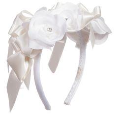 Monnalisa White Silk Rose Hairband at Childrensalon.com