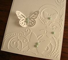 Embossed Butterflies on White Linen Card. Mothers Day. Large Monarch Butterfly. Pearls. A2 Size. Made to Order