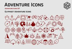 Adventure Icons + Web Font(free) by Idette Designs™ on Creative Market