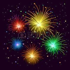 feu d artifice: Divers artifices célébration contre le ciel noir